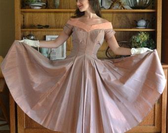 50's Dusty Rose Sharkskin Tafetta Evening Gown / As Is