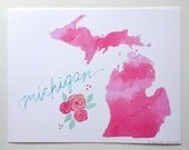 Michigan art print pink watercolor map blue w/mint