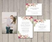 Floral Wedding Invitation, RSVP, Details Card (Printable) by Vintage Sweet