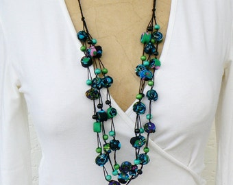 Boho chic Textile Necklace, Long Gypsy necklace, Contemporary trending jewelry, Cotton fabric romantic necklace, Green, Turquoise Blue Black