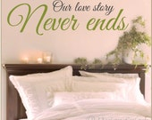 Our Love Story Never Ends, Quote Wall Decal Q-126