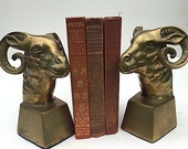 Brass Ram Bookends, Mid Century Modern Home Decor, Christmas Gift For Husband Wife, BOOKENDS For Bookshelf, Bohemian Country Western Decor
