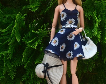MADE TO ORDER - Chiffon Dress in Midnight Daisies Print for Sixth-scale Fashion Dolls