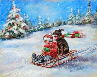 "snow scene ""Winter Sled Ride""  child and dog, Holiday, winter, Canvas or art paper print, Laurie Shanholtzer"