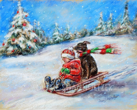 """snow scene """"Winter Sled Ride""""  child and dog, Holiday, winter, Canvas or art paper print, Laurie Shanholtzer"""