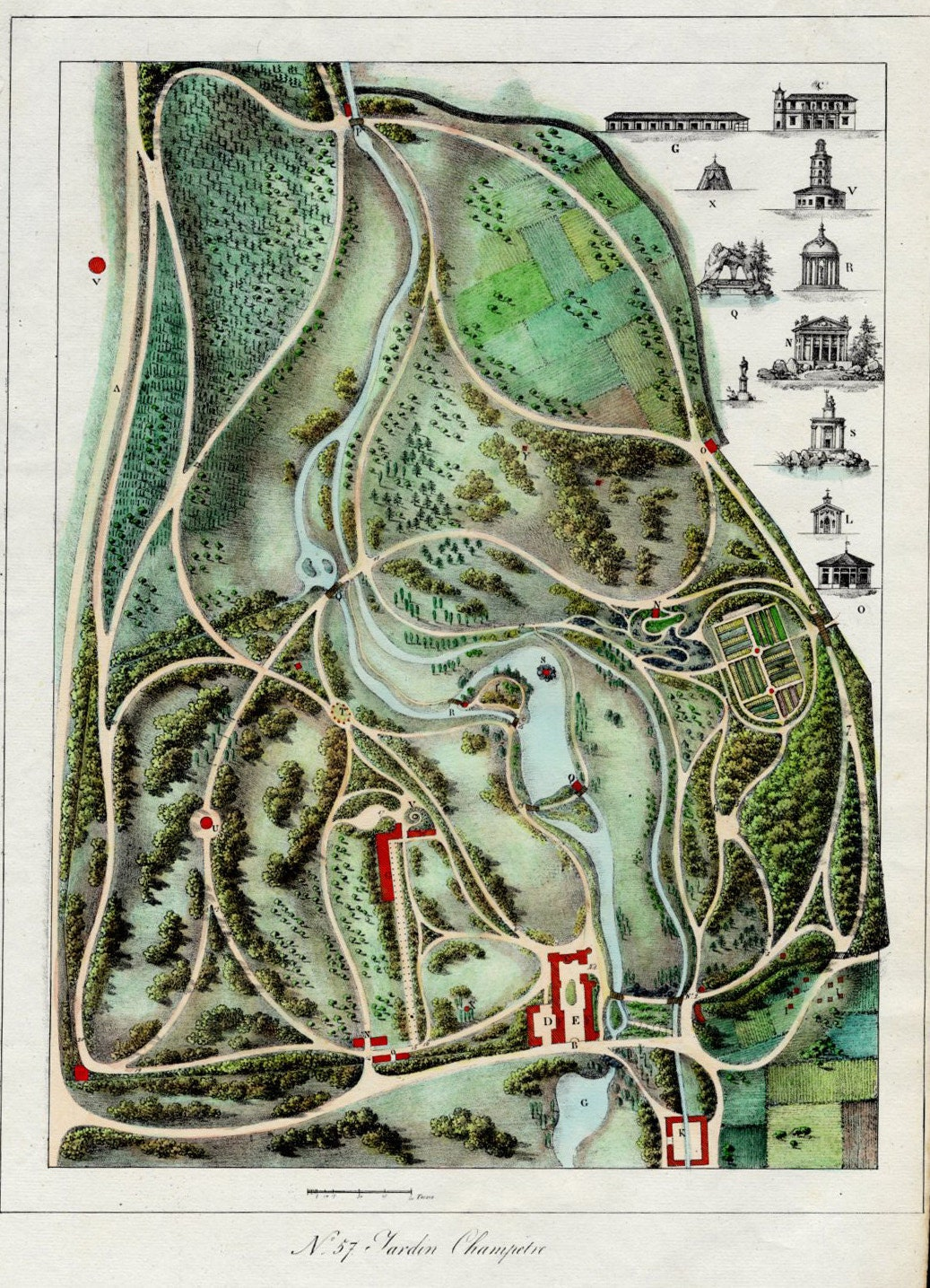 French Garden Design 1828 Garden Plan by Gabriel Thouin