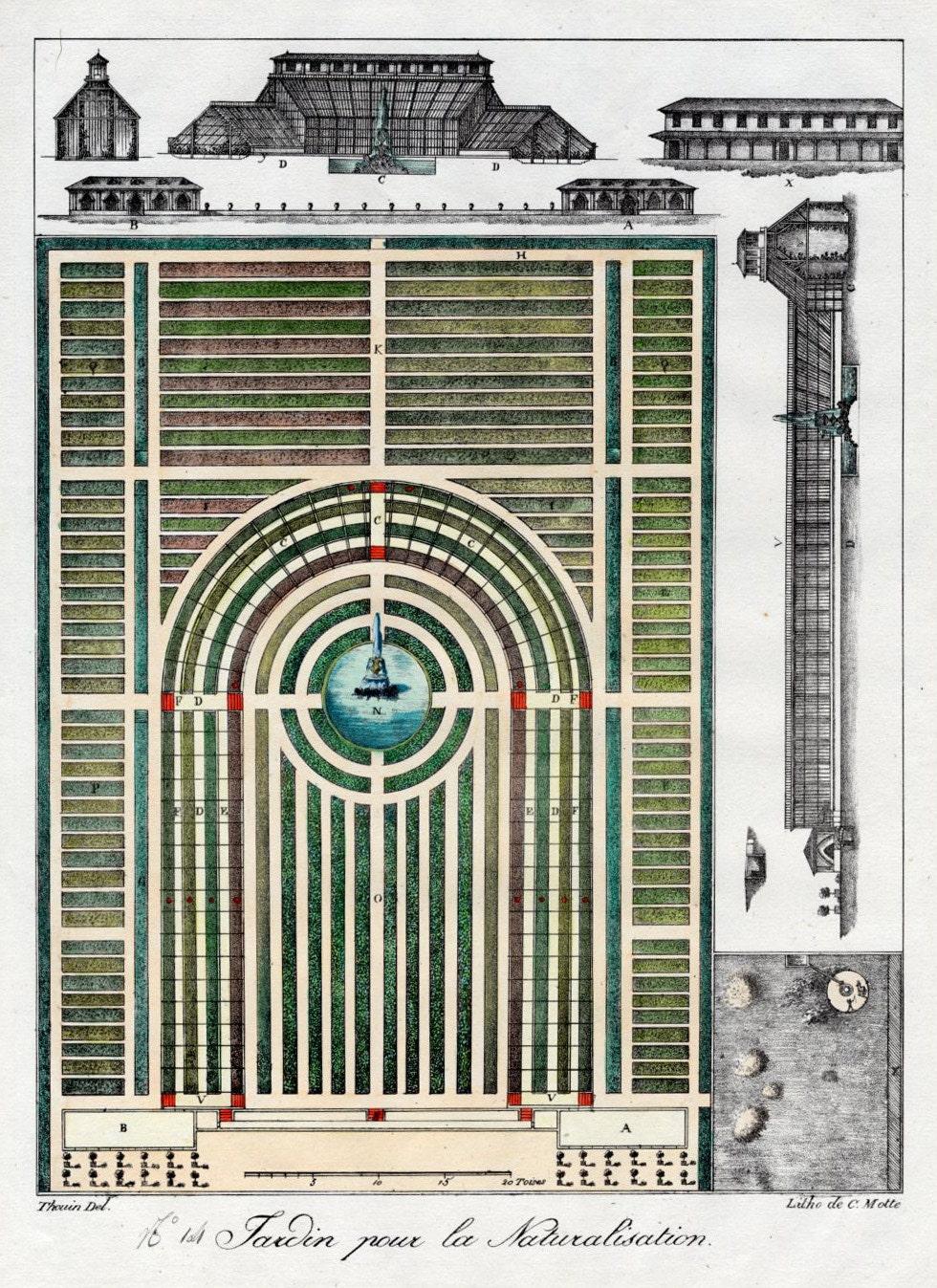 Garden Plan 1828 French Garden Design by Gabriel Thouin