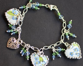 Bracelet, Broken China Jewelry, Broken China Bracelet, Heart Charms, Forget Me Not China,  Sterling Silver Bracelet, Soldered Jewelry