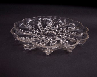 Vintage Crystal Hobnail Candy Dish Swirl Design Footed Bowl Wedding Gift Clear Glass Ornate Design
