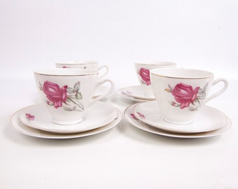 Antique Pink Rose Teacups Saucers Dessert Plates Four Sets FINE CHINA FOREIGN Hand Painted