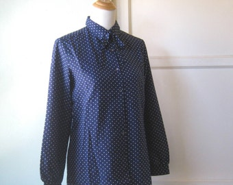 Vintage Navy Blue Neck Tie Shirt; Small White Polka Dots - Large, Dark Blue with White Polka Dot Blouse - Dotty Navy Office/Secretary Top