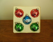 Five Pyramid Glass Christmas Ornaments with Glitter Rauch Industries Holiday Tree Balls in Box