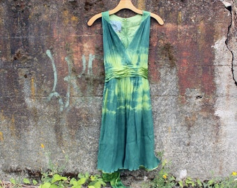 Silk dress in greens, size 8 (S/M), indigo dress, women's dress, hand dyed dress, wearable art