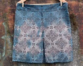 Favorite Skirt, Size 12 (M), shibori dyed skirt, silk and cotton skirt, upcycled women's skirt, naturally dyed clothing