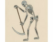 ONE WEEK ONLY - Matt Leines - Skeleton / Grim Reaper - Original drawing - ink and colored pencil on paper