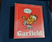 "Vintage 2"" Garfield 1978 Three Ring Binder with tabs, Mead Jim Davis cat cartoon character, Go For It, gift for her him teen adult school"