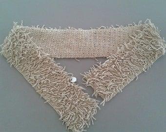 FENDISSIME FENDI SASH Belt, Crochet sash belt Oatmeal shade cotton, Made in Italy, 90s Vintage
