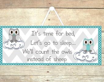 Owl nursery, gray and aqua, wooden owl sign, owl wall art, bedtime poem, wooden owl, owl decor, owl door sign, door hanger, gray chevron