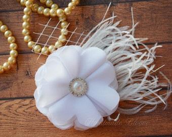 White Chiffon, Bridal Flower, Hair Clip, Wedding, Hair Accessories, Chiffon, Bridesmaid, Fascinator, Hair Flower, Flower for Hair, Ivory