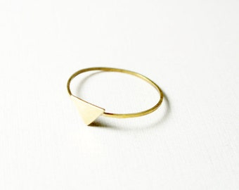tiny triangle ring -- 14 k yellow gold stacking ring