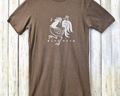 SING MORE Brown Bamboo Organic Cotton T Shirt, Mens TShirt, Rooster Graphic Tee, Gift for Him Mens T-shirts by Uni-T