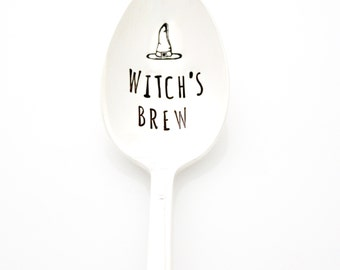 Witch's Brew hand stamped coffee spoon for a witchy woman. By Milk & Honey ®