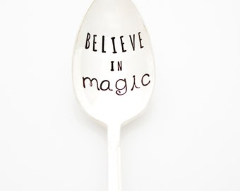 Believe in Magic, Hand stamped coffee spoon. Stamped silverware by Milk and Honey
