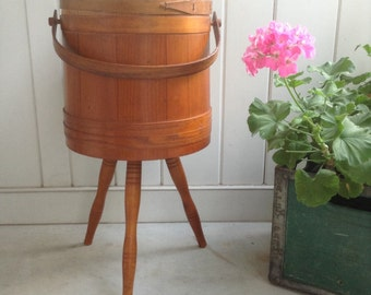 Vintage Wooden Firkin Bucket Sewing Box Primitive Shaker Style Banded Sugar Bucket Pail with or without legs