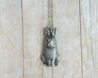 Silver Bunny Necklace Rabbit Jewelry Layering