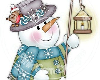 Digi Stamp 'Chilly with Lamp' Snowman.Makes Cute Christmas Cards