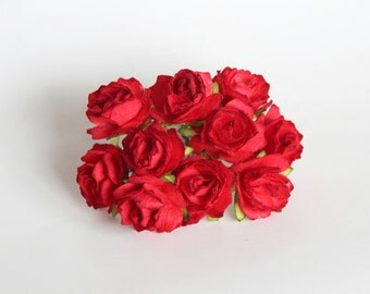 100 pcs - Red mulberry paper 2 cm TEA ROSES / wholesale pack