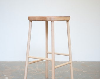 Bar stool - Leather and Maple