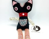 Black halloween cat with red stripes, soft stuffed Cat plushie for halloween, black and red cat plush in cotton fabrics halloween decoration