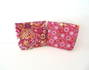 Handmade Quilted Maroon Gold and Purple Cosmetic Bag Set - Makeup Bag Set - Toiletries Bag Set - Travel Bag Kit Set