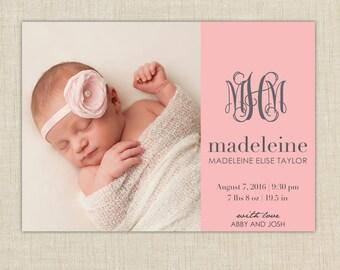 Monogram birth announcement.