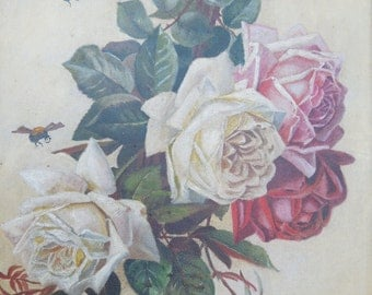 1900's Oil on Board Painting Roses Bees Framed Flowers Floral Still Life
