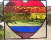 Stained Glass Heart Panel in Rainbow Colors