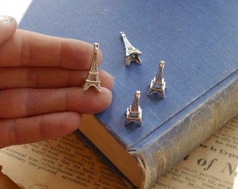 10 Antique Silver Eiffel Tower Charms 27mm (SC2626)