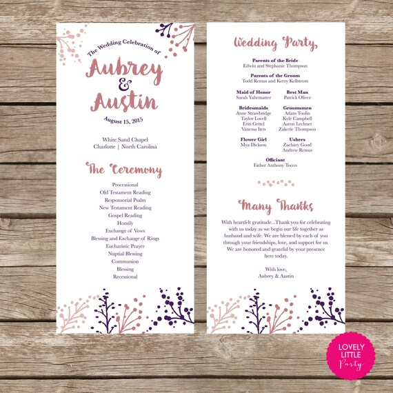 Aubrey Collection Wedding Program- DIY Printable - Lovely Little Party - You Choose Colors
