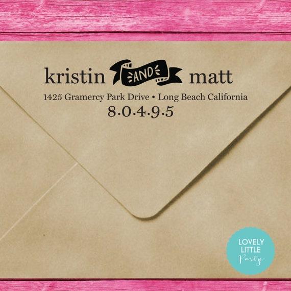 Modern custom self inking address stamp style 225 - Lovely Little Party