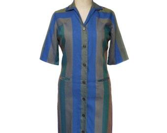 vintage 1960s striped shirtdress / Laura of Dallas / bold stripes / 50s 60s day dress / cotton / women's vintage dress / tag size 8