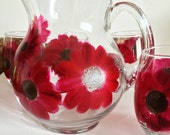 Gerbera Daisy Pitcher and Stemless Glassware 5  - Piece Collection - Red Gerbera Daisy Hand Painted Glasses
