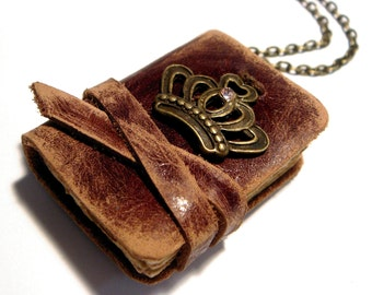 Mini Leather Book Pendant - RICHARD - Old leather - Victorian style - Vintage paper sheets - 3x4 sm