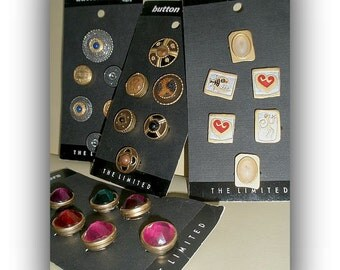 80's/90's Button Covers from 'The Limited', new on the card, button jewelry, cover buttons, update wardrobe, accessory, Greece