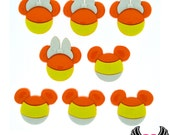 Disney MICKEY MOUSE & MINNIE MoUSE Halloween Candy Corn Heads Jesse James Licensed Buttons Or Make into Flatback Cabochons