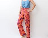Vintage red floral linen women 90s trousers / pants / high waist / summer / flowers