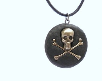 Polymer Clay Black Skull Necklace, Skull and Crossbones Pendant, Biker Goth Jewelry