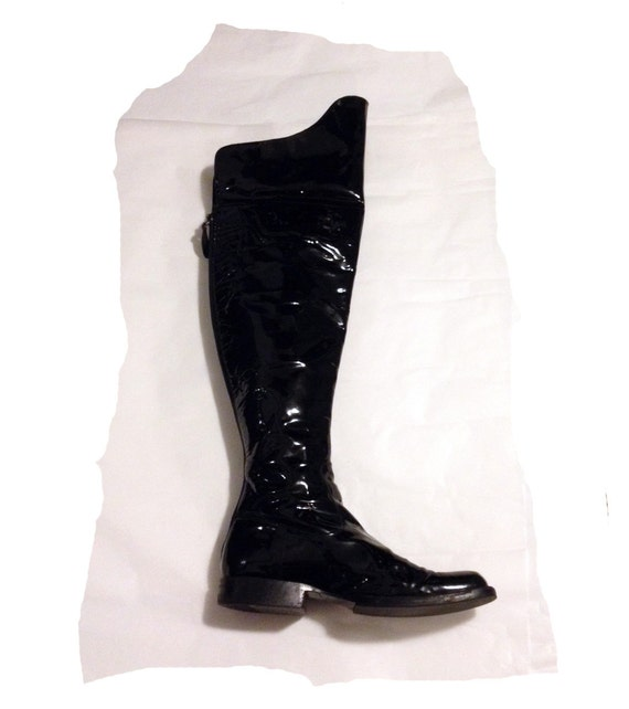 chanel logo black patent leather knee high boots