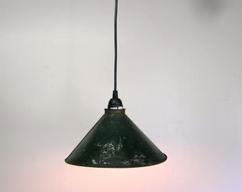 tin light, industrial light, pendant light, rewired