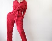 Red button down long sleeve overall jumpsuit L